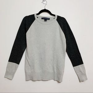 French Connection Grey Color Block Sweater